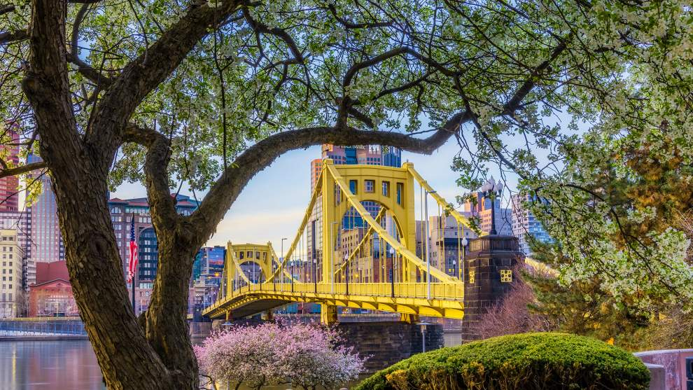 Roberto Clemente Bridge and Downtown Pittsburgh in early Spring